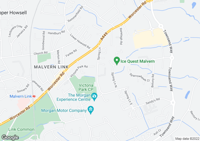 Map for Spring Lane North, Malvern Link
