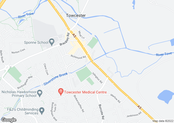 Map for Richmond Court, Towcester, Northamptonshire