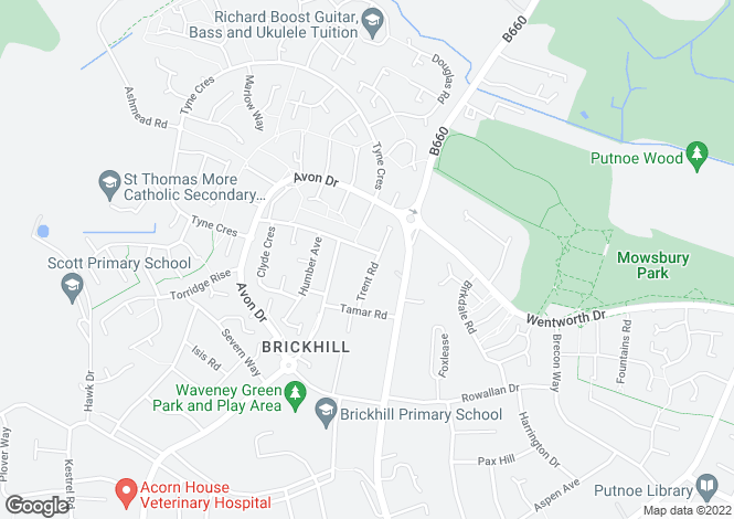 Map for TRENT ROAD, BRICKHILL, BEDFORD, MK41