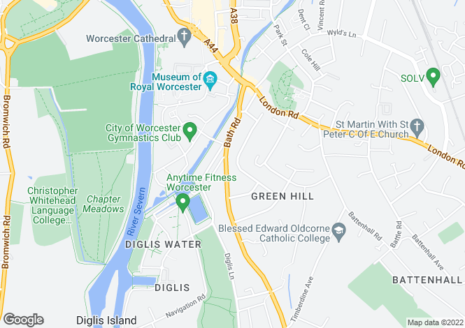 Map for Woolhope Road, Worcester, Battenhall