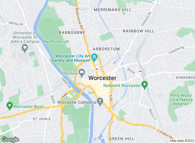 Map for Halls Estate Agents, Worcester