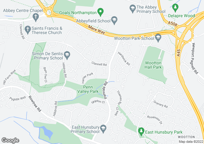 Map for Kimble Close, East Hunsbury, Northamptonshire