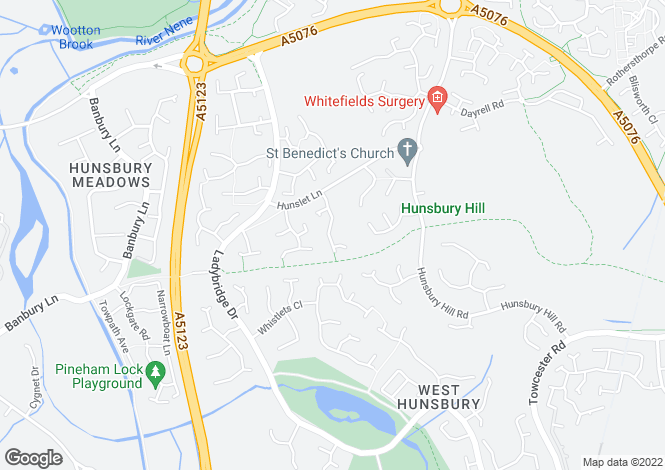 Map for Whaddon Close, West Hunsbury, Northamptonshire