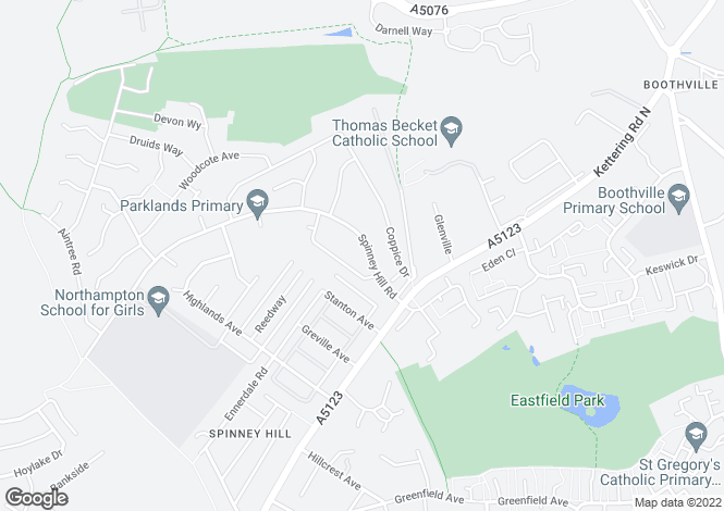 Map for Spinney Hill Road, Spinney Hill, Northampton NN3 6DH