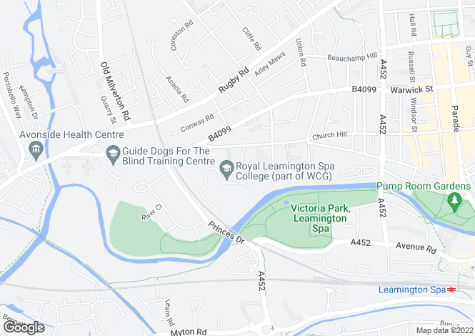 Map for Copps Road, Leamington