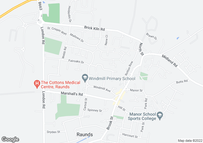 Map for Langham Road, Raunds, Wellingborough