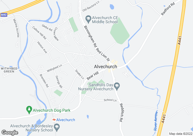 Map for Bear Hill Drive, Alvechurch, Worcestershire
