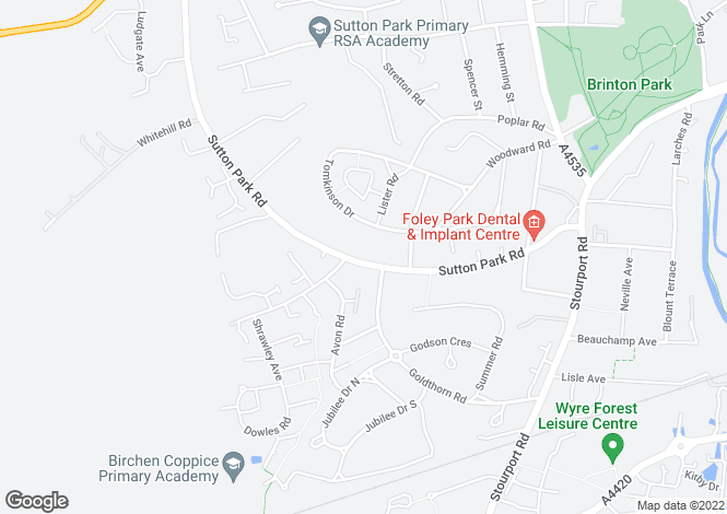 Map for Sutton Park Road, KIDDERMINSTER
