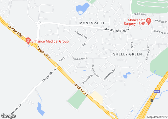 Map for Frankholmes Drive, Monkspath