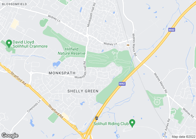 Map for Priory Court, Monkspath, B90
