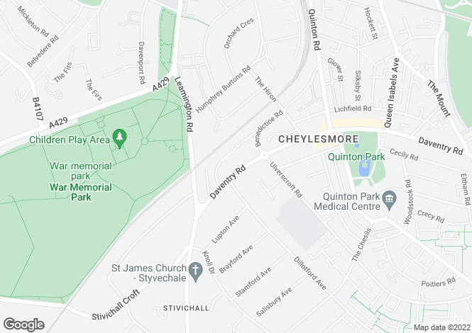 Map for Daventry Road, Cheylesmore, Coventry