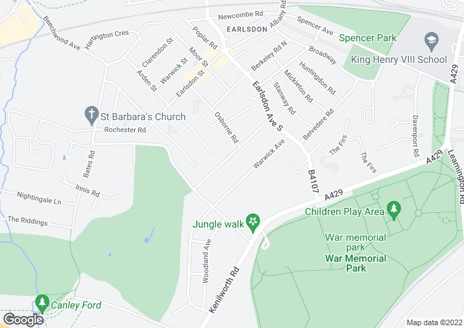 Map for 1A STYVECHALE AVENUE, EARLSDON, COVENTRY CV5 6DW