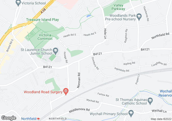 Map for Bunbury Road, Northfield