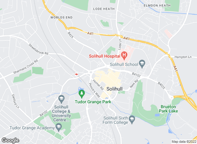 Map for Hunters, Solihull