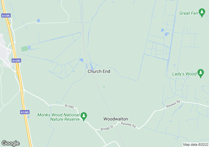 Map for Church End, Woodwalton