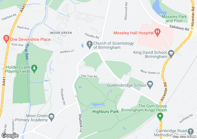 Map for Yew Tree Road, Moseley, Birmingham, B13