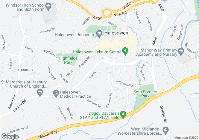 Map for Claremont Way, HALESOWEN