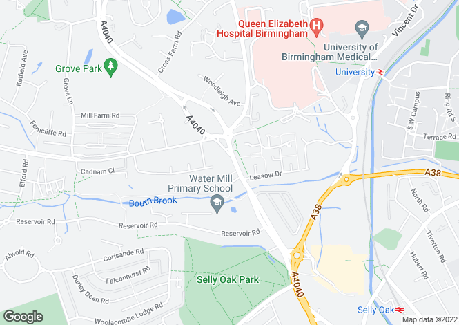 Map for 285 Harborne Lane, Harborne