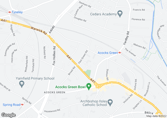 Map for Flint Green Road, Acocks Green, Birmingham, West Midlands