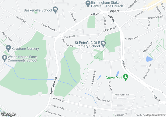 Map for Dorchester Drive, Harborne