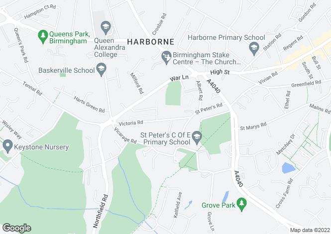 Map for Victoria Road, Harborne