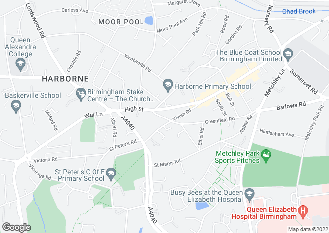 Map for Greenfield Road, Harborne, Birmingham, West Midlands, B17