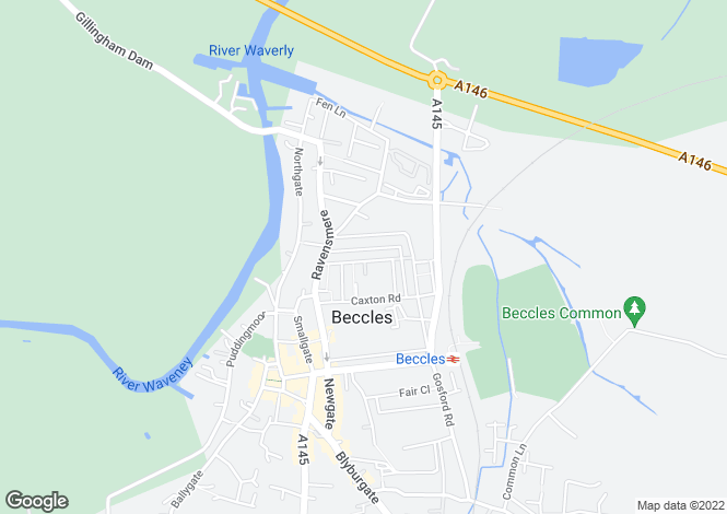 Map for Denmark Road, Beccles