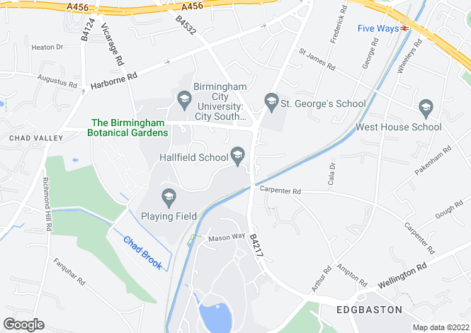 Map for Oakhurst, 45 Church Road, Edgbaston, Birmingham