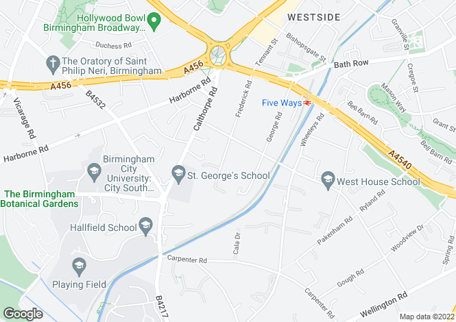 Map for Calthorpe Fields, 30 Frederick Road, Edgbaston, Birmingham