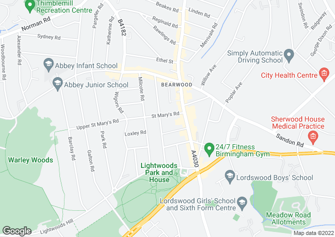 Map for St. Marys Road, Bearwood, West Midlands, B67