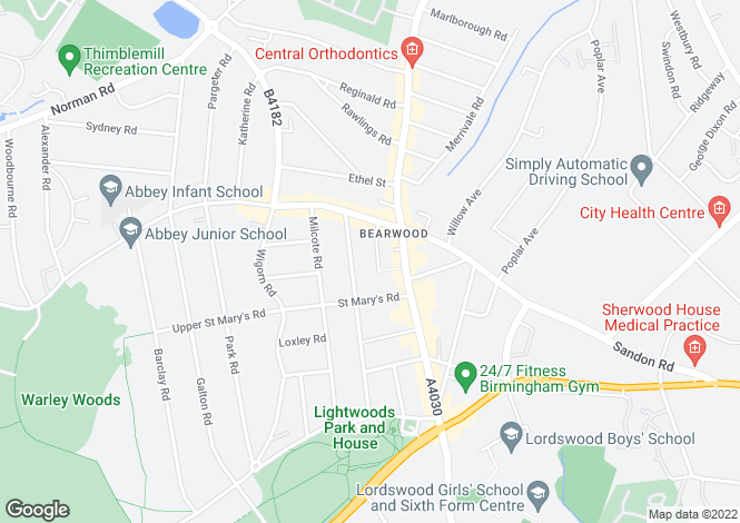 Map for Wattis Road, Bearwood