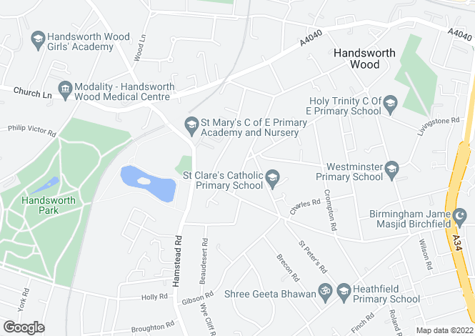 Map for Church Vale,  Handsworth, B20