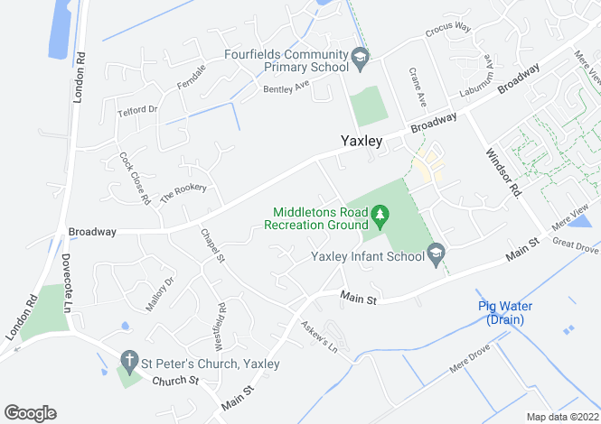 Map for Hillcrest Avenue, Yaxley, Peterborough