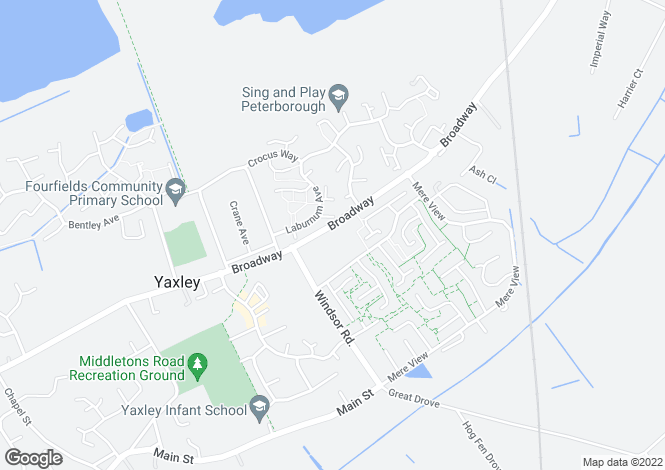Map for Broadway, Yaxley