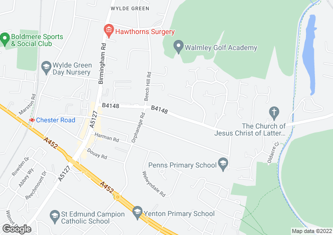 Map for PENNS LANE, WYLDE GREEN, SUTTON COLDFIELD