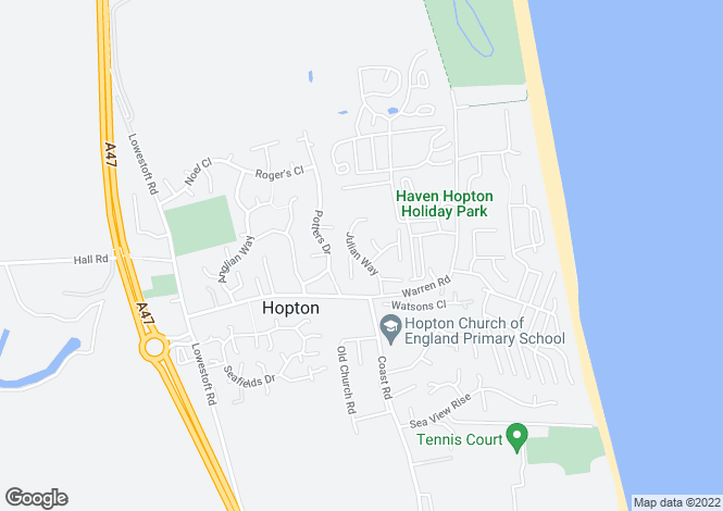 Map for Julian Way, Hopton, Great Yarmouth