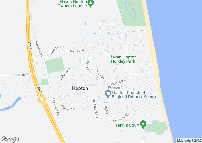 Map for Hopton, Great Yarmouth, Norfolk