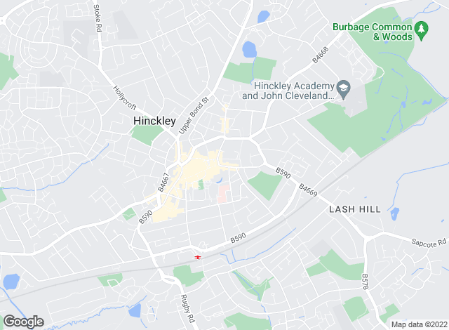 Map for Castle Estates, Hinckley