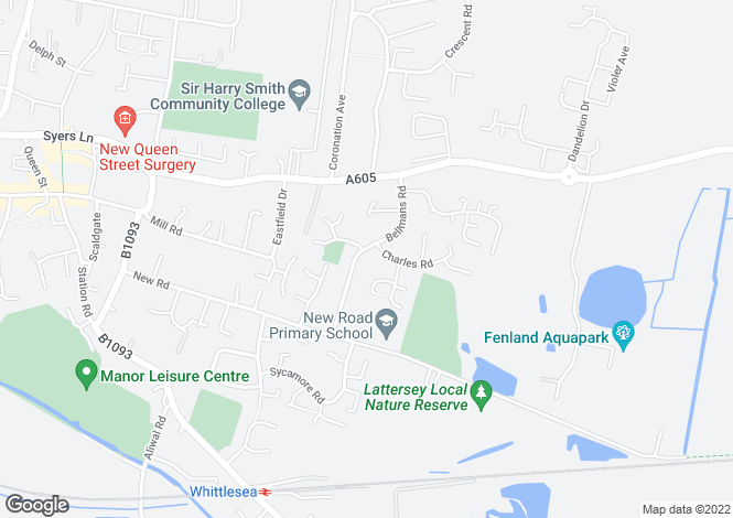 Map for Bellmans road, Whittlesey