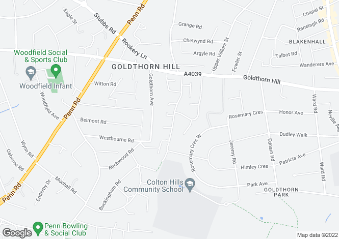 Map for 36 Coton Road, Penn, Wolverhampton, West Midlands