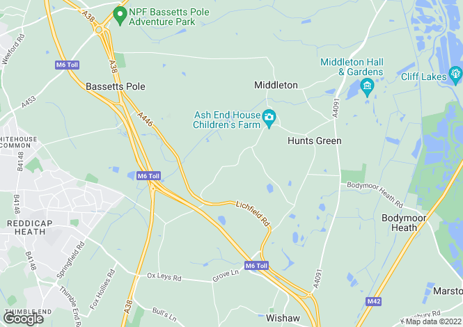 Map for Middleton Lane, Middleton, Near Tamworth, B78