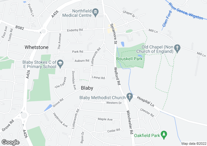 Map for Laurel Road, Blaby, Leicester, Leicestershire