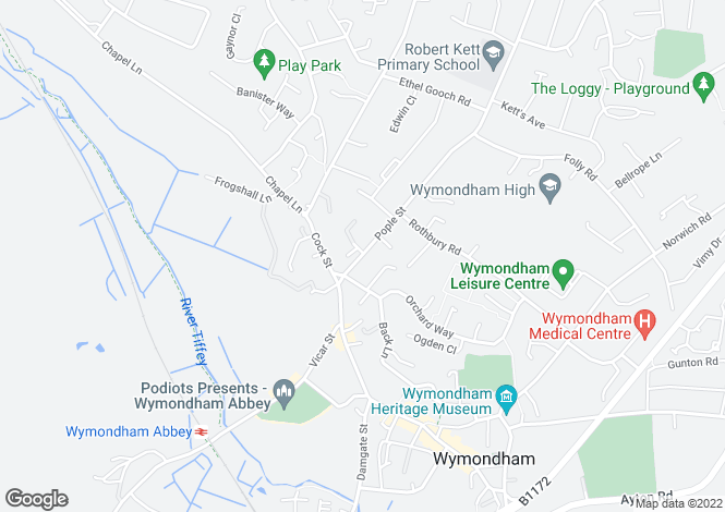 Map for Pople Street, WYMONDHAM