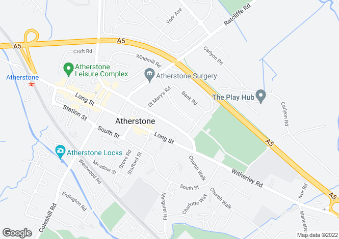 Map for North street, Atherstone, CV9 1JW
