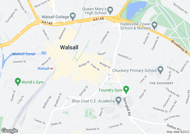 Map for Apartment Freer Court, 8 Freer Street, Walsall, West Midlands. WS1 1QD