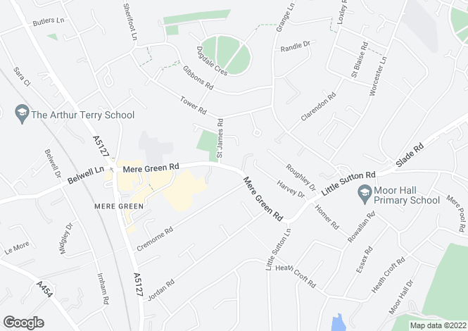 Map for Mere Green Road, Four Oaks, Sutton Coldfield, B75