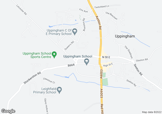 Map for North Street West, Uppingham, Rutland, LE15