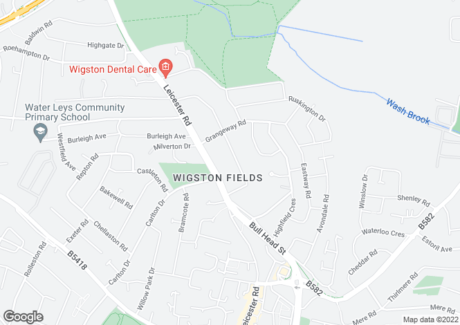 Map for Grange Road, Wigston Fields, Leicestershire