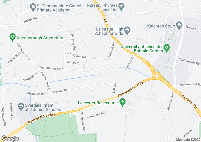 Map for Knighton Church Road, South Knighton, Leicester, LE2 3JH
