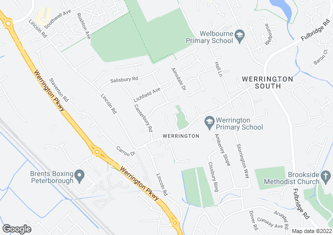 Map for Church Street, Werrington, Peterborough